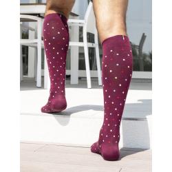 RELAXSAN Fancy Socks Podkolanówki uciskowe z bawełny - bordowe w kropki CCL1